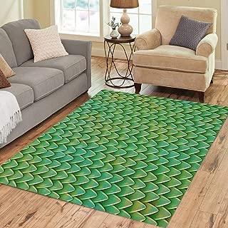 Pinbeam Area Rug Dragon Scales Reptile Skin Pattern Fish Shingles Home Decor Floor Rug 3' x 5' Carpet