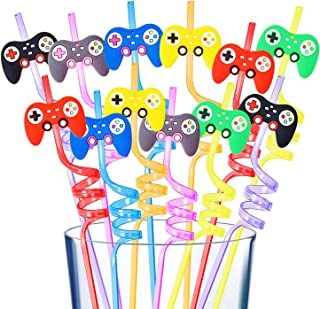 24Pcs Video Game Straws Party Supplies Reusable Video Game Plastic Straws for Video Game Party Supplies Favors Birthday Pa...