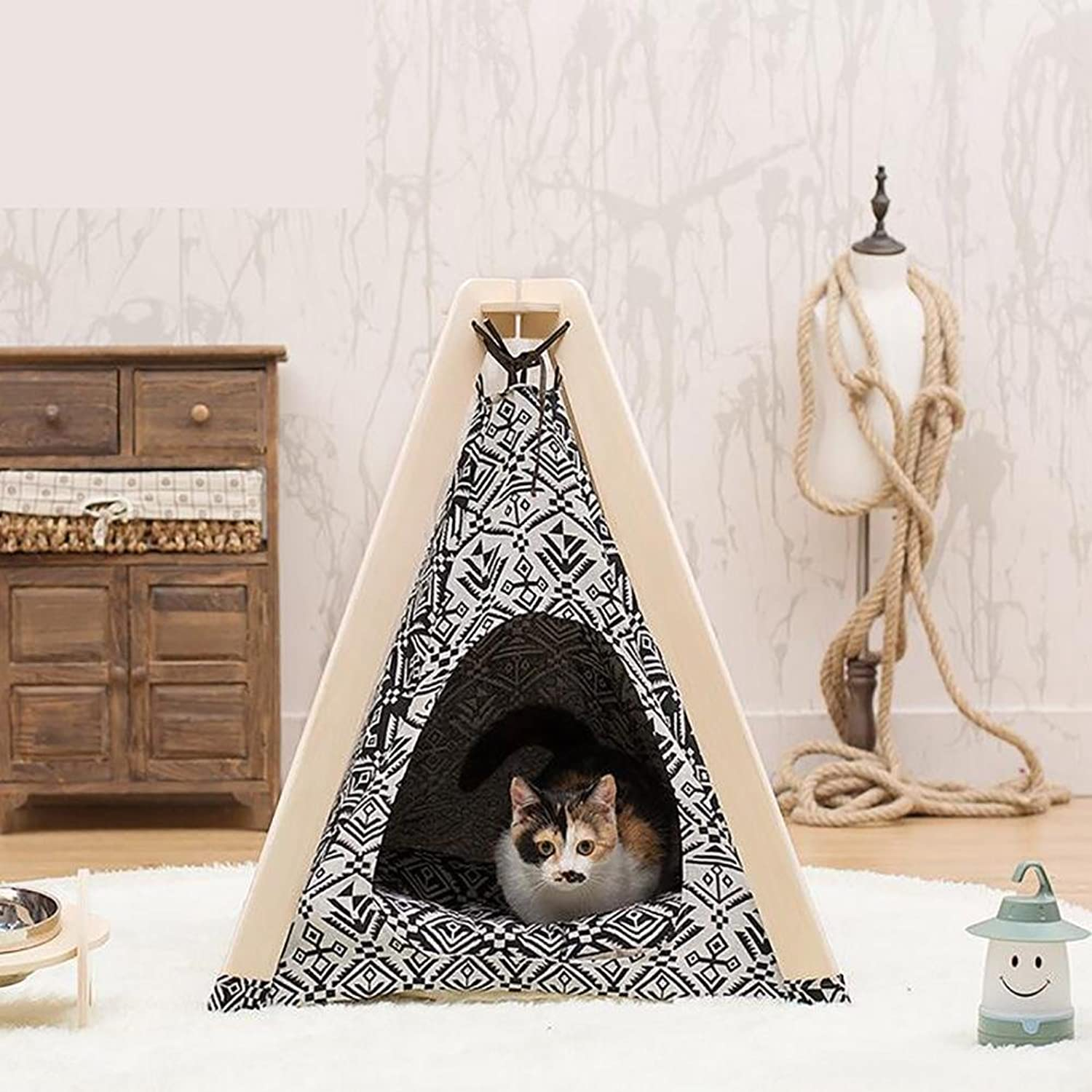 Pet Myyxt Tent Removable and Washable Cloth and Linden Wood Synthetic Version Kennels Including Mats
