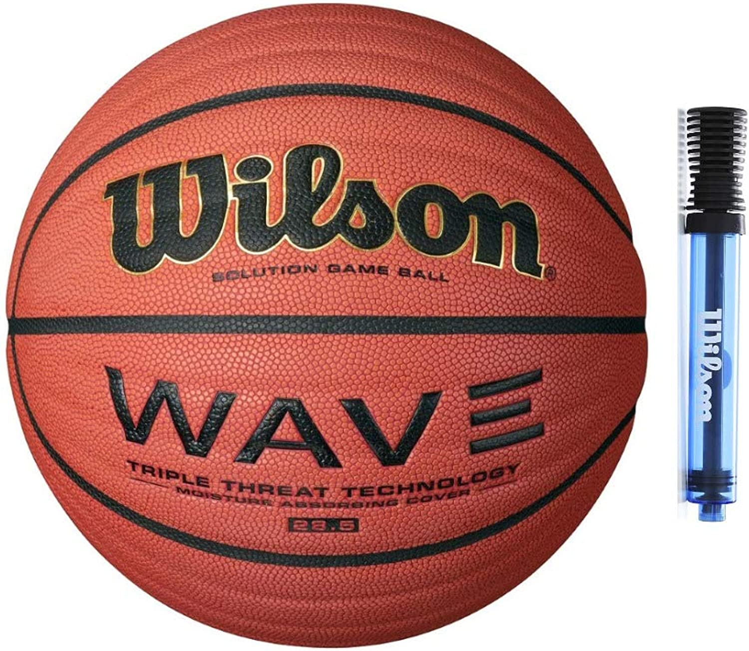 Wilson 70cm NCAA Wave Solution Indoor Game Basketball with 15cm Clear Pump