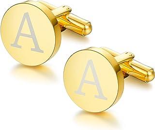 ORAZIO Gold Tone Initial Cufflinks for Men Women Alphabet Letter A-W Cufflinks