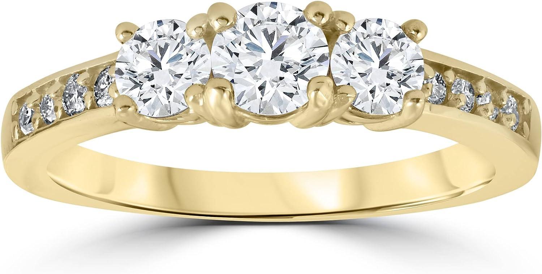 1 1/2 cttw Diamond 3-Stone Engagement Anniversary Ring 14k Yellow Gold