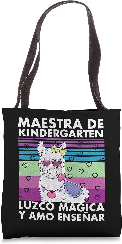 Kinder Llama Divertida Playera Maestra Espanol Tote Bag