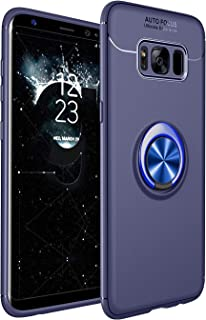 HXC Case for Samsung Galaxy S8 Plus Soft TPU Material Suitable for Automotive Magnet Brackets Invisible Ring Bracket Multi-Function Protective Shell (Blue)