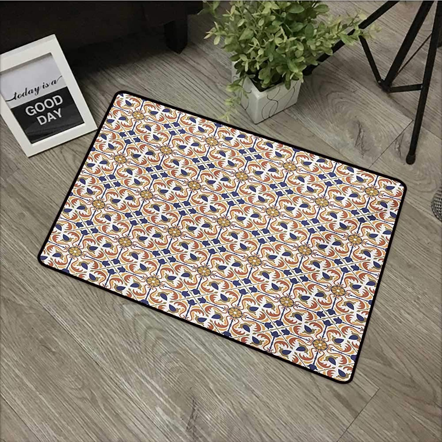 Meeting Room mat W35 x L59 INCH Mgoldccan,Traditional Mosaic Tile Motif with Old Fashioned Floral Arabesque Scroll Design,Multicolor Easy to Clean, no Deformation, no Fading Non-Slip Door Mat Carpet
