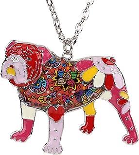 BONSNY Dog Collection Winston English British Bulldog Bull Terrier Necklaces Statement Enamel Pendant