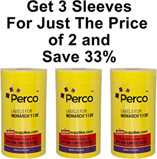 Yellow Pricing Labels for Monarch 1131 Price Gun – 24 Rolls, 60,000 Labels – with Bonus Ink Rolls - Buy 2 Sleeves Get 1 Free