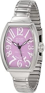 Glam Rock Women's MBD27138 Miami Beach Art Deco Purple Dial Stainless Steel Watch