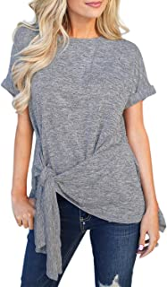 Womens Summer Solid Color Short Sleeve T-Shirt Tie Knot Casual Blouse (S-XXL)