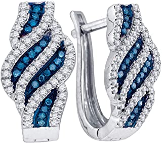 Mia Diamonds 14k White Polished Glitter Infused Circle Hoop Earrings