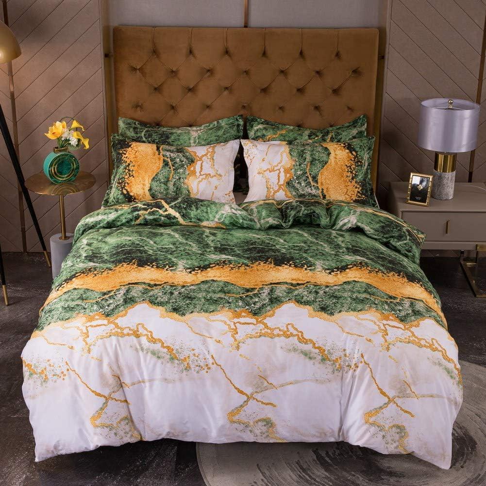 至上 Marble Bedding Set King Size お金を節約 Duvet Luxury Green Cover Se
