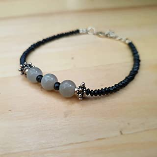 Grey Moonstone and Black Spinel Beads Bracelet with Sterling Silver Findings Gemstone Jewelry 6.50