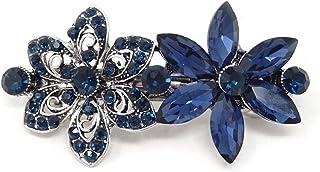 honbay 时尚发饰深蓝色*水钻花朵发卡发夹法国发夹* PIN 适用于女式和女孩