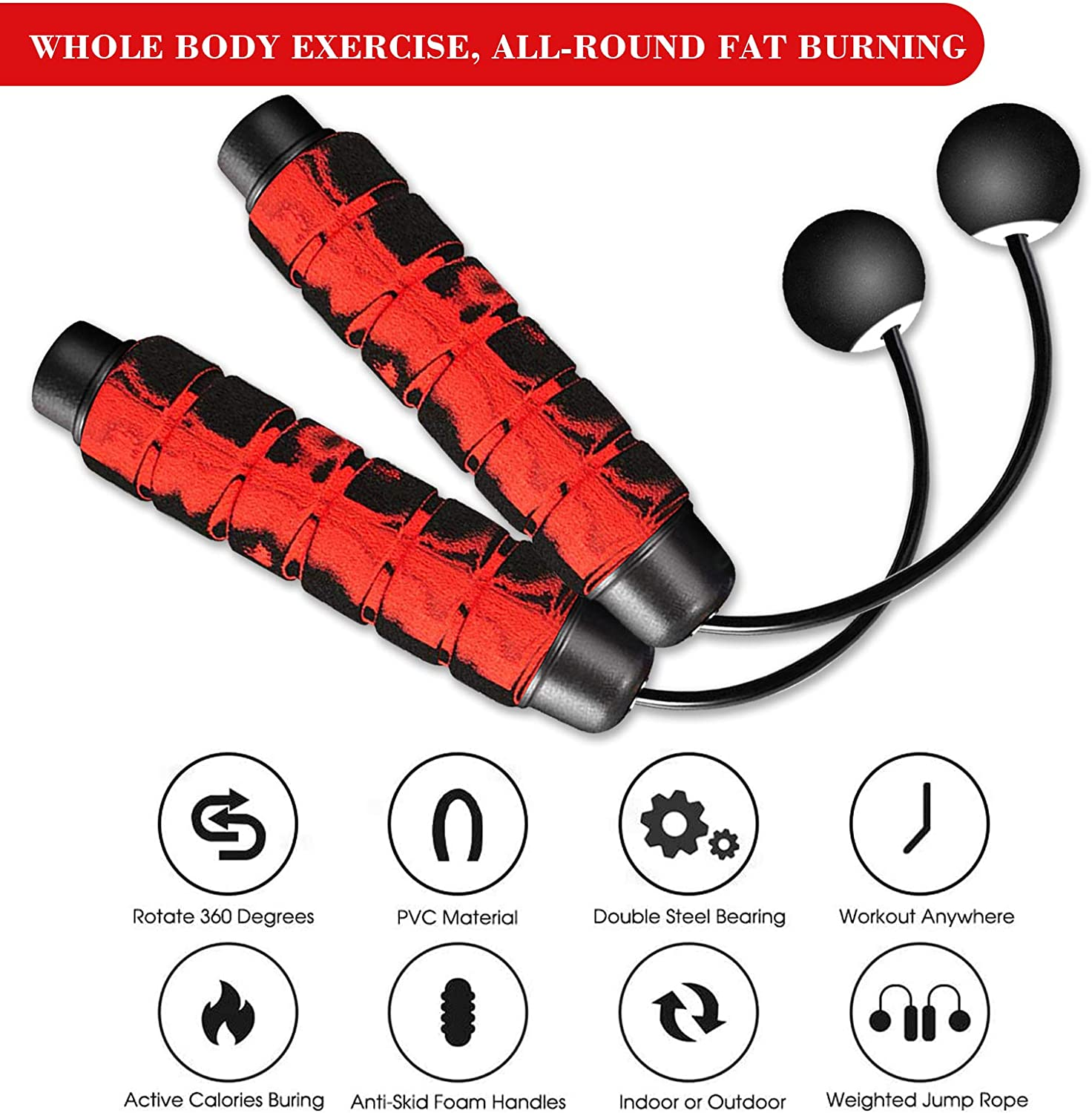 Redify Weighted Cordless Jump Rope for Fitness Ropeless Jump Rope for Crossfit Boxing MMA WOD Training Suitable for Different Ages and Levels High Speed Skipping Rope for Narrow Space