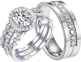 Ahloe Jewelry 1.9Ct Oval Cz Wedding Ring Sets for Him and Her Women Men Titanium Stainless Steel Bands 18K Gold Couple Rin...