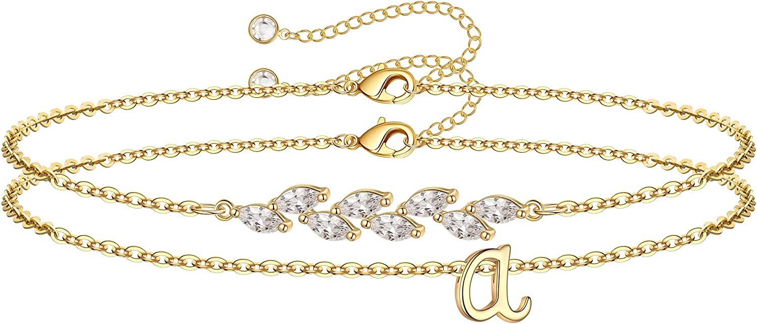 Los Angeles Mall IEFWELL Lowest price challenge Gold Initial Bracelets Crystal Girls for