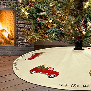 Sevenstars Christmas Tree Skirt 48 inches Xmas Tree on Red Truck Tree Skirts Double Layers Xmas Tree Skirt for Christmas Decorations Indoor Outdoor