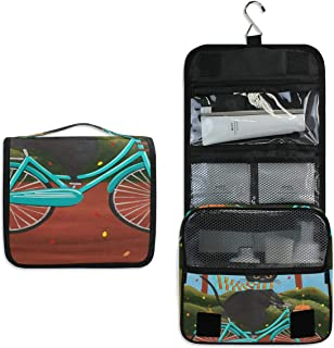 Hanging Toiletry Bag Autumn Fat Black Cat On Bicycle Travel Organizer for Makeup and Toiletries for Men Women,Hang Case for Cosmetics and Toilet Accessories with Metal Swivel Hook