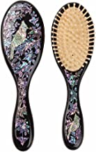 Antique Alive Mother of Pearl Inlay Art Parrot Bird Christmas Flower Luxury Oval Black Hair Brush Detangling Anti Static Scalp Massage Comb Wooden Handle Bristle Cushion Kids Girl Boy Gift Hairbrush