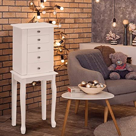 HOMGX (White, Jewelry Cabinet with Mirror, Armoire Box Storage Chest, Stand Organizer with 5 Drawers & 8 Necklace Hooks