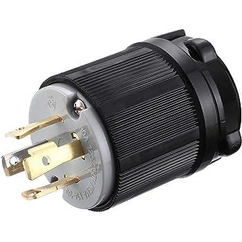 Generator Plug 30 Amp 4 Prong Twist Locking Male Plug Outlet Connector 125//250V