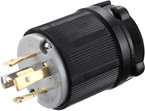 Miady NEMA L14-30P Generator Plug, 30 Amp 4-Prong Industrial Grade Locking Male Plug Up to 7,500W, Grounding Type/UL ...