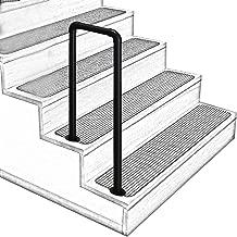 U-Shaped Matt Black Non-Slip Wrought Iron Stair Handrail, 2-Step or 3-Step Indoor and Outdoor Elderly Children's Loft Corridor Safety Support Bar, for Villa Hotel Garden