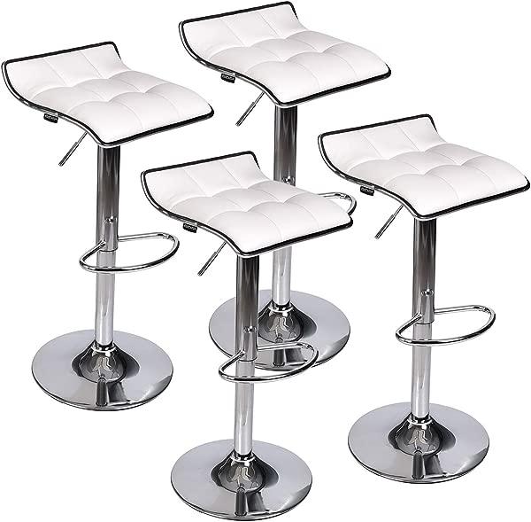 Set Of 4 Adjustable Swivel Gas Lift Barstools PU Leather With Chrome Base White