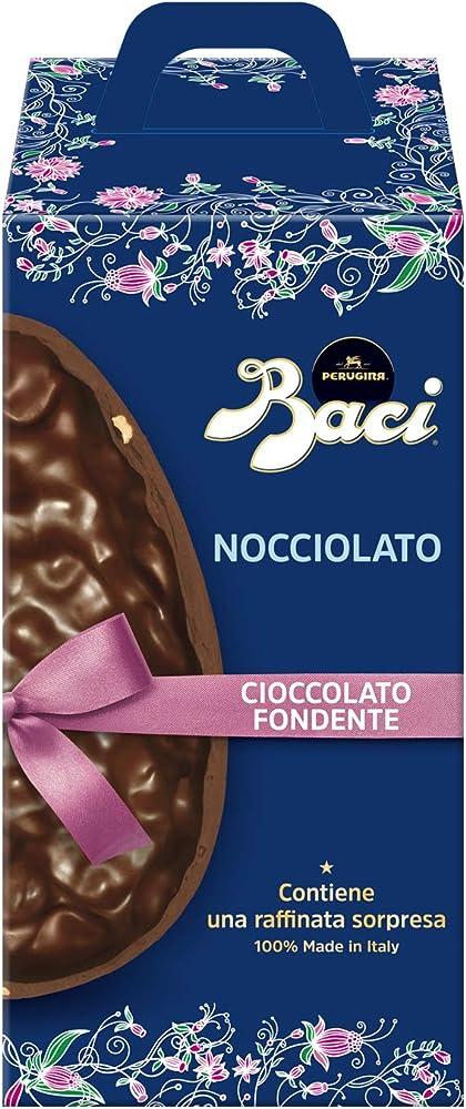 Baci perugina,uovo di pasqua al cioccolato fondente extra, con 20% di nocciole in pezzi,senza glutine