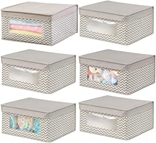 mDesign Soft Stackable Fabric Closet Storage Organizer Holder Box - Clear Window, Attached Hinged Lid, for Child/Kid Room,...