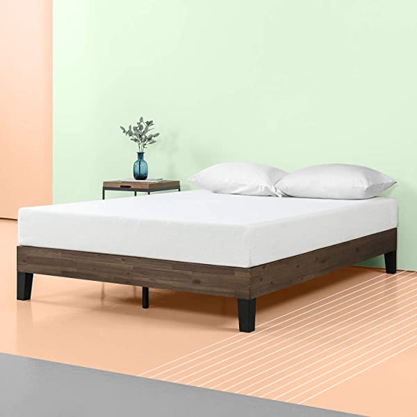 Zinus 12 Inch Acacia Wood Platform Bed No Boxspring Needed Wood Slat Support Queen