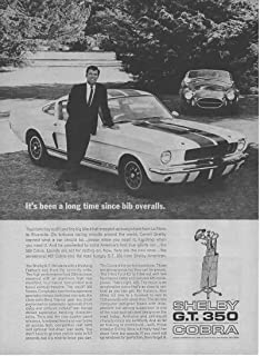 """Magazine Print Ad: 1966 Carroll Shelby Ford Mustang GT-350, 427 Cobra, 289, 427 V-8 Engine,""""It's Been a Long Time Since Bib Overalls"""""""