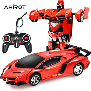 AHIROT RC Car for Kids Transform Car Robot, Deformation Car Model Toy 1:18 Transformation Remote Control Vehicle for Children