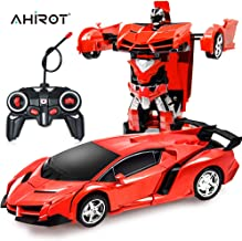 AHIROT RC Car for Kids Transform Car Robot, Deformation Car Model Toy 1:18 Transformation Remote Control Vehicle for Children Perfect for Birthday Gift (Red)