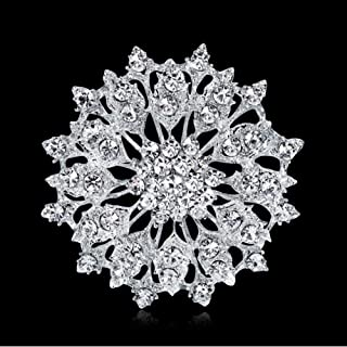 N/W brooches for Women Silver Color Rhinestones Hollow Flower Brooch Pin for Women, Girls, Ladies (2)