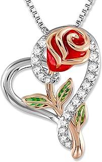 SNZM Collana di Fiori di Rosa per Le Donne Collana di Gioielli Ciondolo Cuore per Le Donne
