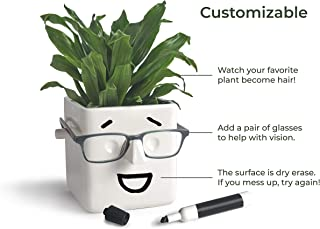 30 Watt | FACE Plant | Novelty Planter That Holds Plants, Glasses & You Can Draw On It. Elegant Ceramic Vase for Succulents, Cacti or Your Average Fern for Your Home | I Miss You Gift