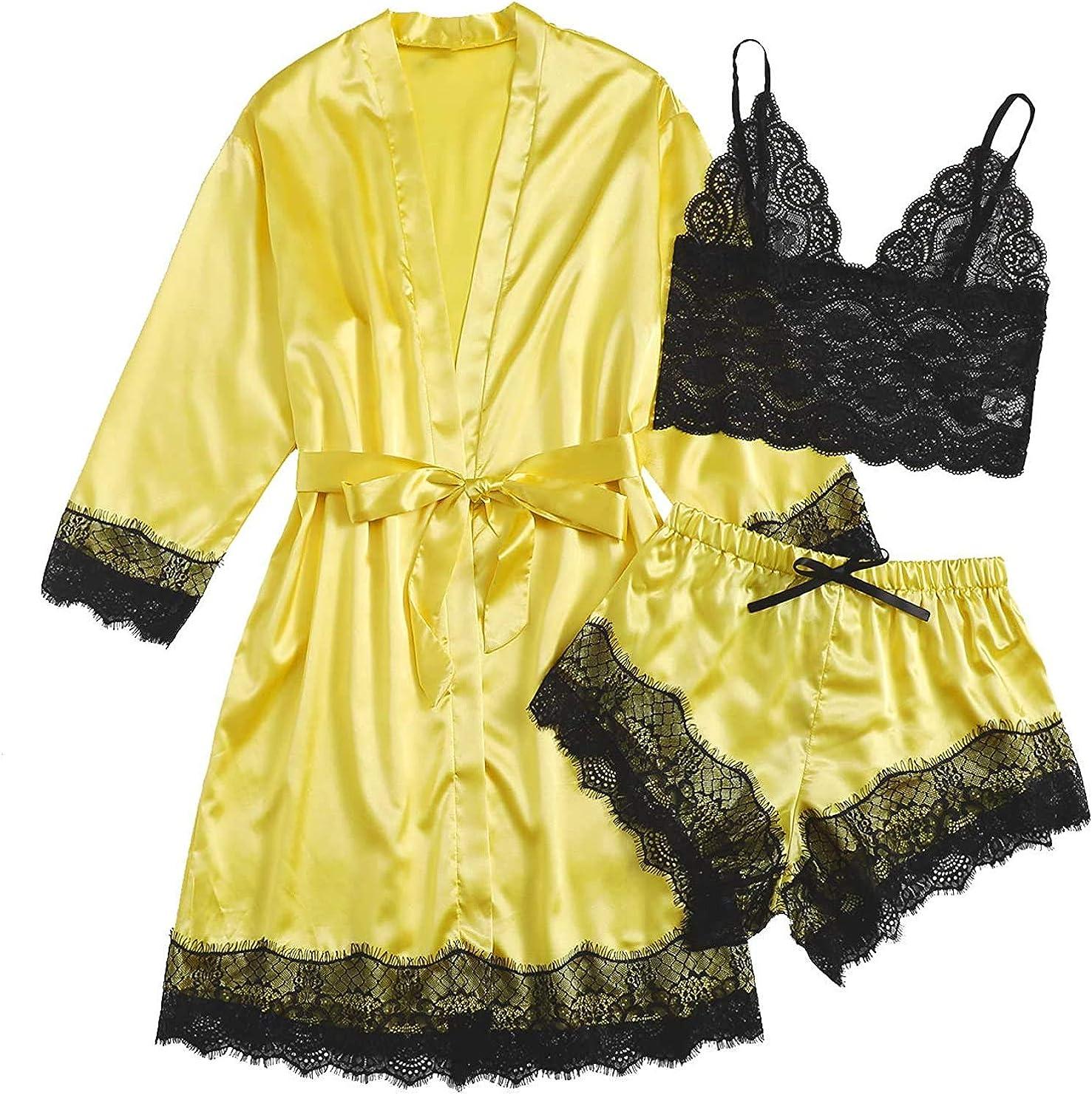 3/4/5 PCS Women's Sleepwear Plus Size Silk Sexy Nightwear Lace Trim Satin Nightgown Cami Pajamas Set with Robe