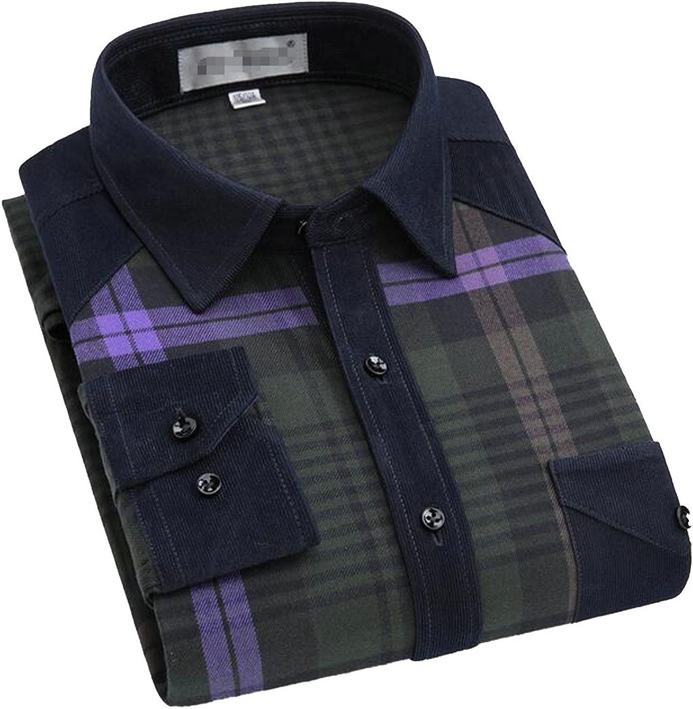 Pandapang Men's Slim Fit Plaid Long Sleeve Flannel Cotton Button Down Shirts