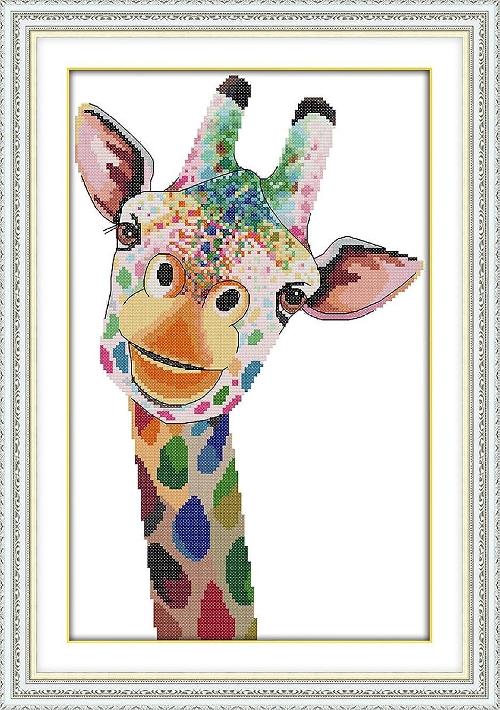 DIY Cross Stitch Stamped Kits for Home Decor 14''x 20.5'' - Colorfol Animal Cross-Stitching Needlecrafts Pattern, Giraffe