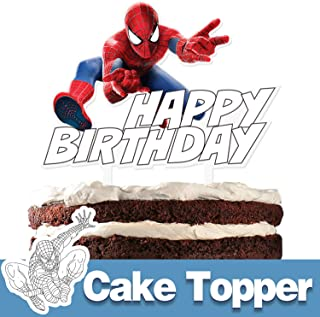 Superhero Happy Birthday Cake Topper Spider Cartoon Theme Party Cake Decor Perfect for Baby Shower Child Birthday Party Supplies Adorable The Superheroes Acrylic Decorations