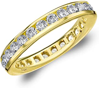 1.5CT Classic Channel Set Diamond Eternity Ring, 1.50CTTW Wedding Anniversary Band in 14K Gold