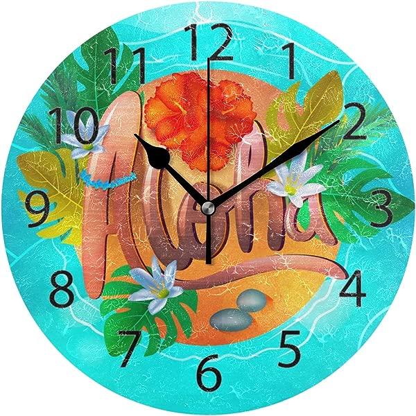 YATELI Wall Clock Shelf Round 10 Inch Diameter Flower Colorful Hawaiian Aloha Silent Decorative For Home Office Bedroom