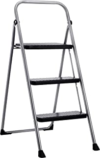Amazon Basics Folding Step Stool - 3-Step, Steel, 200-Pound Capacity, Grey and Black