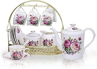 ufengke 15 Piece European Ceramic Tea Sets,China Coffee Set with Metal Holder,Pink Rose Painting Straight Coffee Tea Pot