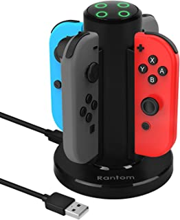 Rantom Nintendo Switch用 Joy-Con充電スタンド 知能断電モード付き ニンテンドースイッチ Joy-Con充電グリップ ジョイコン 急速充電ホルダー 4台同時に充電可能 充電指示ランプ USBケーブル付き(一年間の保証付き)(ブラック)