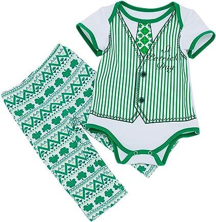 ecb3431c4570 ALLAIBB Baby Infant Boys St. Patrick s Day 2Pcs Outfit Bodysuit+ Shamrock  Pants Size 6M (