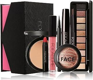 Niome 8 Pcs Makup Kit Face Powder Blush Eyeshadow Eyebrow Pencil Eyeliner Lipstick Lipgloss Mascara Natura Charming Nude Makeup Gift Box #1