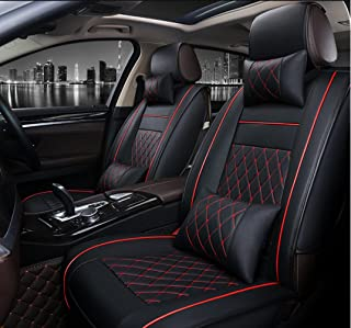 ANKIV FULL SET Universal Fit 5 Seats Car Adjustable Removable Auto Seat Cushions Waterproof PU Leather Car Seat Covers Protector with Headrest Pillows and Lumbar Support Pillows