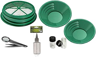 "7pc Gold Panning Kit 1/4 Mesh Classifier, 14"" & 10"" Green Gold Pans, 2 vials, Sniffer Bottle, Tweezers With Magnetfier"